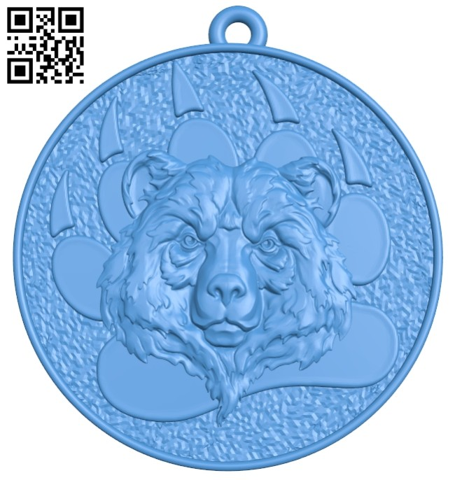 Bear medallion keychain B007571 file stl free download 3D Model for CNC and 3d printer