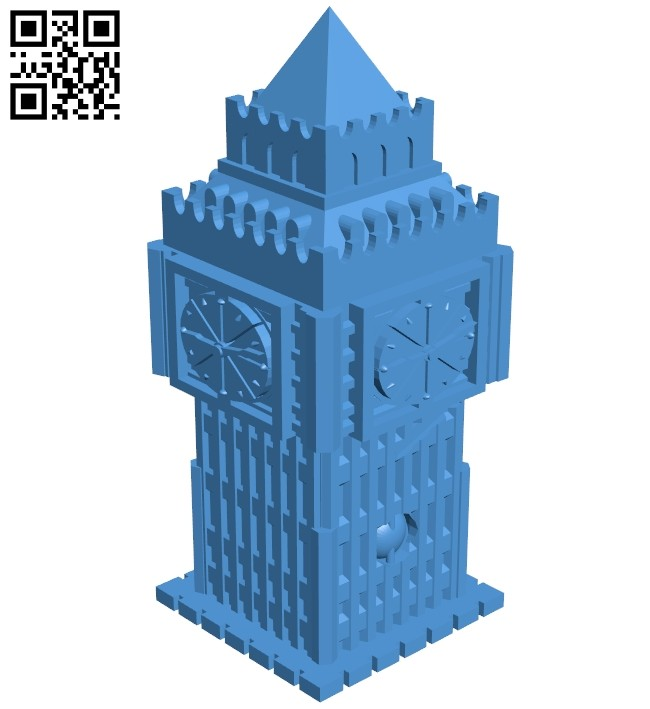 Big Ben tower - house B007441 file stl free download 3D Model for CNC and 3d printer