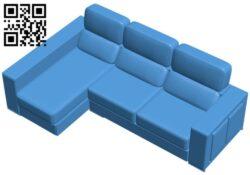 Corner sofa B007410 file stl free download 3D Model for CNC and 3d printer