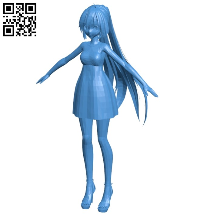 Cute anime girl B007354 file stl free download 3D Model for CNC and 3d printer