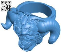 Devil's face ring B007248 file stl free download 3D Model for CNC and 3d printer