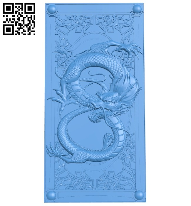 Dragon-shaped door pattern A004840 download free stl files 3d model for CNC wood carving