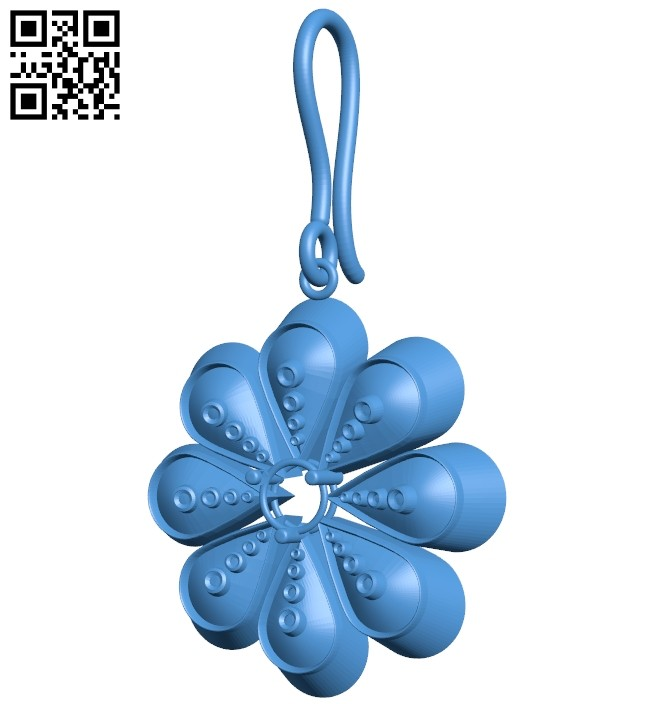 Flower earring B007416 file stl free download 3D Model for CNC and 3d printer