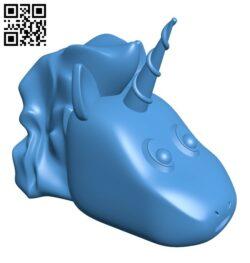 Happy Unicorn head B007496 file stl free download 3D Model for CNC and 3d printer