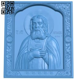 Icon of Saint Reverend Seraphim of Sarov A004830 download free stl files 3d model for CNC wood carving