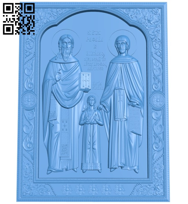 Icon of the Holy Great Martyrs Raphael Nicholas and Irina A004829 download free stl files 3d model for CNC wood carving