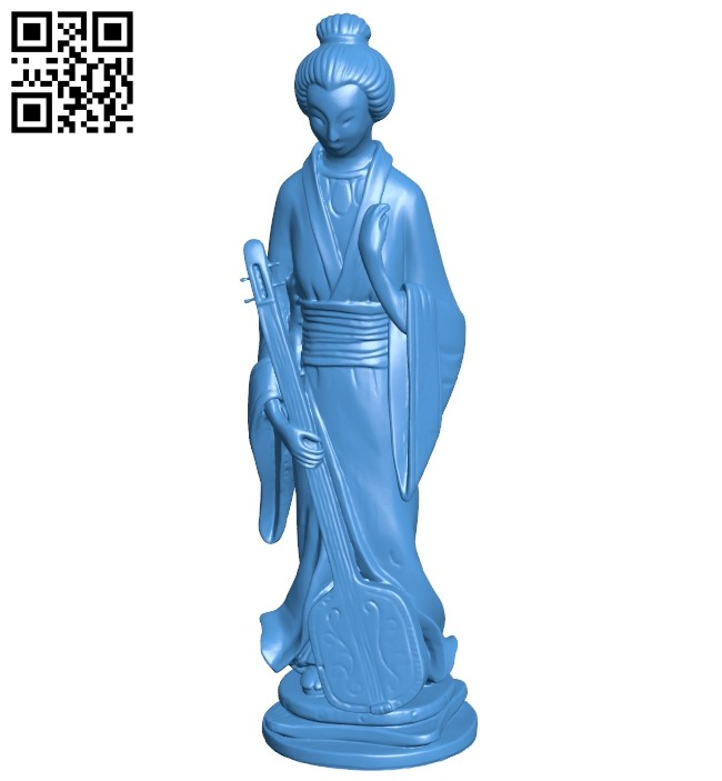 JG woman with samisen B007488 file stl free download 3D Model for CNC and 3d printer