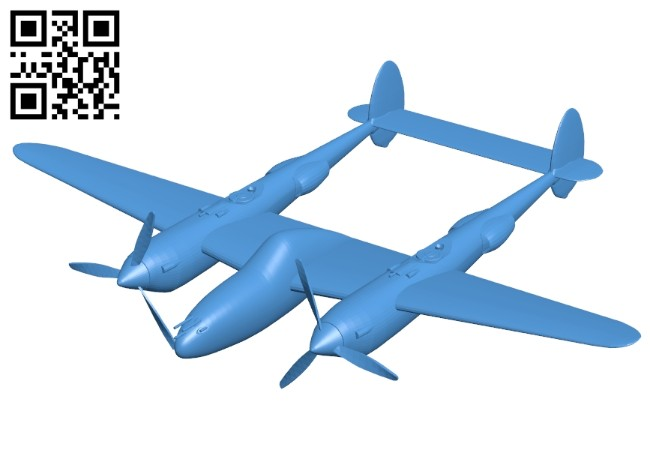 Lockheed Aircraft P-38E B007364 file stl free download 3D Model for CNC and 3d printer