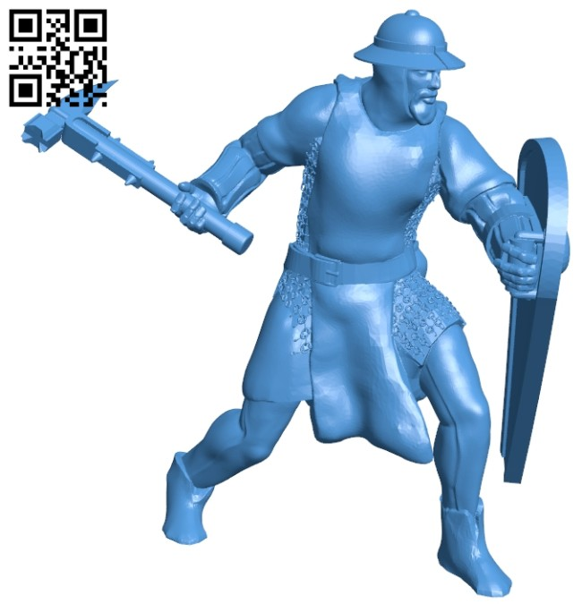 Man - attacking soldier B007444 file stl free download 3D Model for CNC and 3d printer