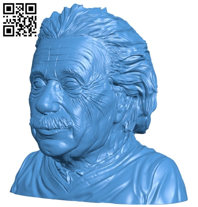Mr Einstein bust B007388 file stl free download 3D Model for CNC and 3d printer