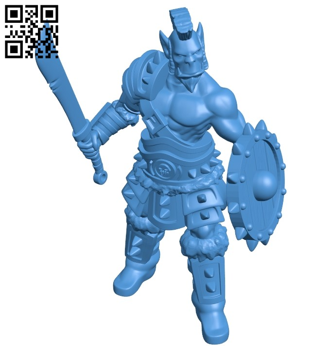 Orc swordsman B007428 file stl free download 3D Model for CNC and 3d printer