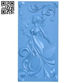 Pattern of the female warrior door A004778 download free stl files 3d model for CNC wood carving