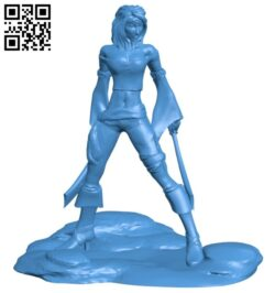 Slender girl pirate B007513 file stl free download 3D Model for CNC and 3d printer