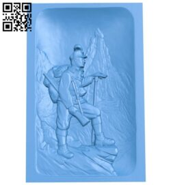Soldier picture on mountain A004819 download free stl files 3d model for CNC wood carving