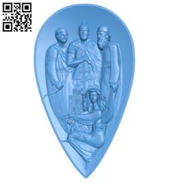 Three soldiers and one girl A004940 download free stl files 3d model for CNC wood carving