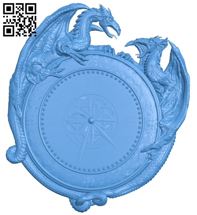 Two dragons clock A004896 download free stl files 3d model for CNC wood carving