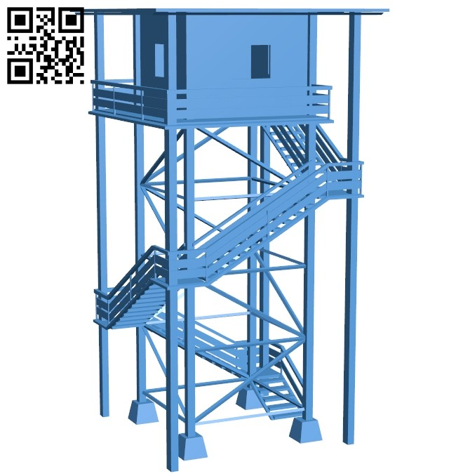 Wooden watch tower - house B007499 file stl free download 3D Model for CNC and 3d printer