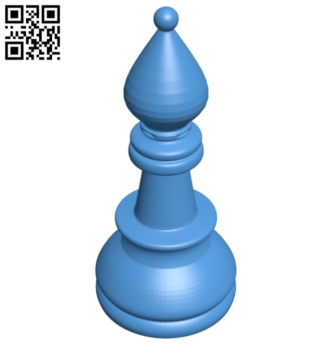 Bishop - chess B007615 file stl free download 3D Model for CNC and 3d printer