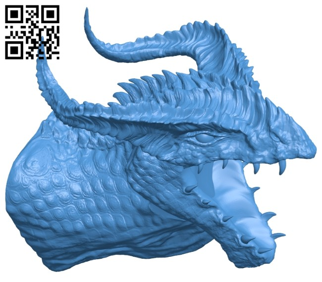 Dragon bust open mouth B007872 file stl free download 3D Model for CNC and 3d printer
