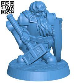 Dwarf paladin viking warrior man B007652 file stl free download 3D Model for CNC and 3d printer