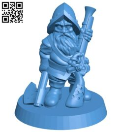 Dwarf warrior – Gnome rifleman B007687 file stl free download 3D Model for CNC and 3d printer