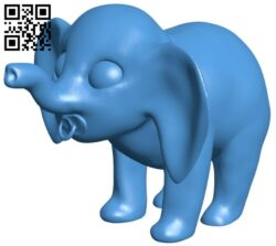 Elephant with pacifier B007709 file stl free download 3D Model for CNC and 3d printer