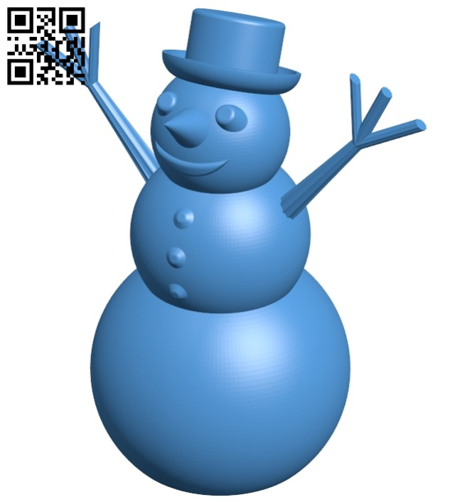 Happy snowman B007925 file stl free download 3D Model for CNC and 3d printer
