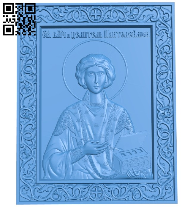 Icon of Panteleimon A005188 download free stl files 3d model for CNC wood carving
