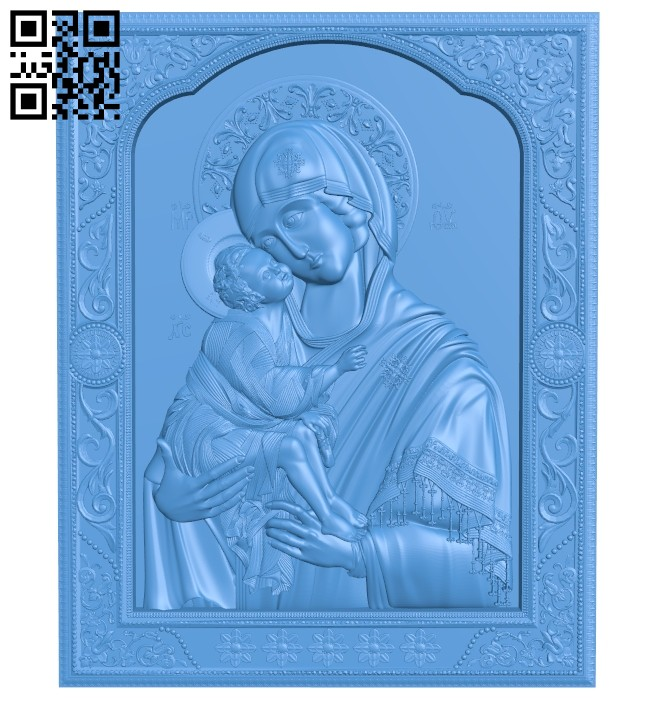 Icon of the Don Mother of God A005184 download free stl files 3d model for CNC wood carving