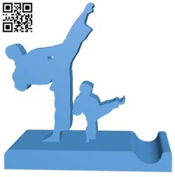Karate holder stand – smartphone B007807 file stl free download 3D Model for CNC and 3d printer