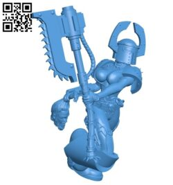 Khorne female warrior wearing armor B007700 file stl free download 3D Model for CNC and 3d printer