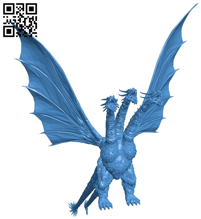 King ghidorah dragon B007811 file stl free download 3D Model for CNC and 3d printer