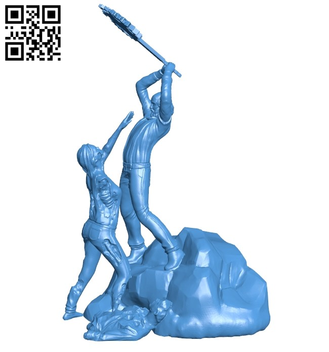 Man fights against zombies B007886 file stl free download 3D Model for CNC and 3d printer