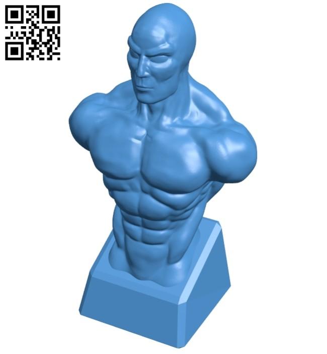 Man muscular torso - bust B007898 file stl free download 3D Model for CNC and 3d printer