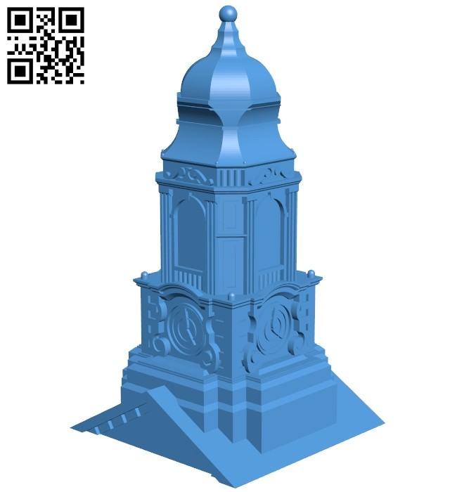 Milford town hall - house B008007 file stl free download 3D Model for CNC and 3d printer