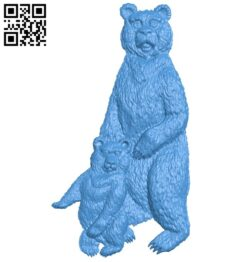 Mother bear and cub A005096 download free stl files 3d model for CNC wood carving
