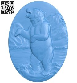Oval picture of a bear A005037 download free stl files 3d model for CNC wood carving