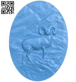Oval picture of a goat A005046 download free stl files 3d model for CNC wood carving