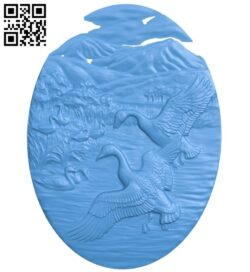 Oval picture of wild ducks A005042 download free stl files 3d model for CNC wood carving