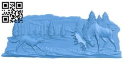Painting of a hound and moose A005094 download free stl files 3d model for CNC wood carving