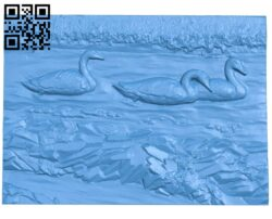 Painting of swans A005100 download free stl files 3d model for CNC wood carving