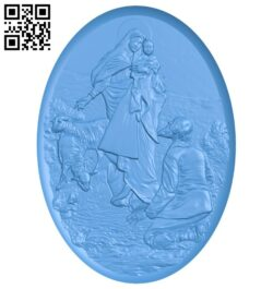 Painting of the mother and the shepherd girl A005010 download free stl files 3d model for CNC wood carving