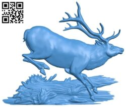 Painting picture of running deer A005044 download free stl files 3d model for CNC wood carving