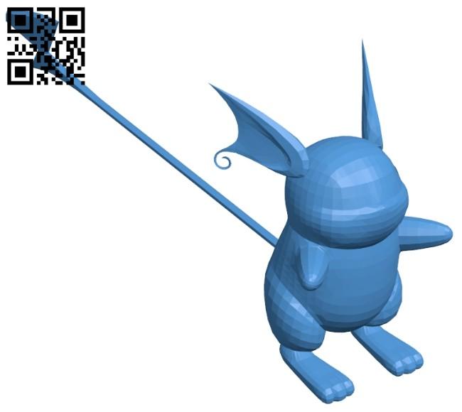 Raichu - pokemon B007932 file stl free download 3D Model for CNC and 3d printer