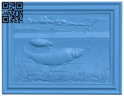 Salmon fishing painting A005103 download free stl files 3d model for CNC wood carving