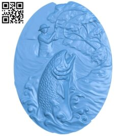 Salmon oval painting A005098 download free stl files 3d model for CNC wood carving