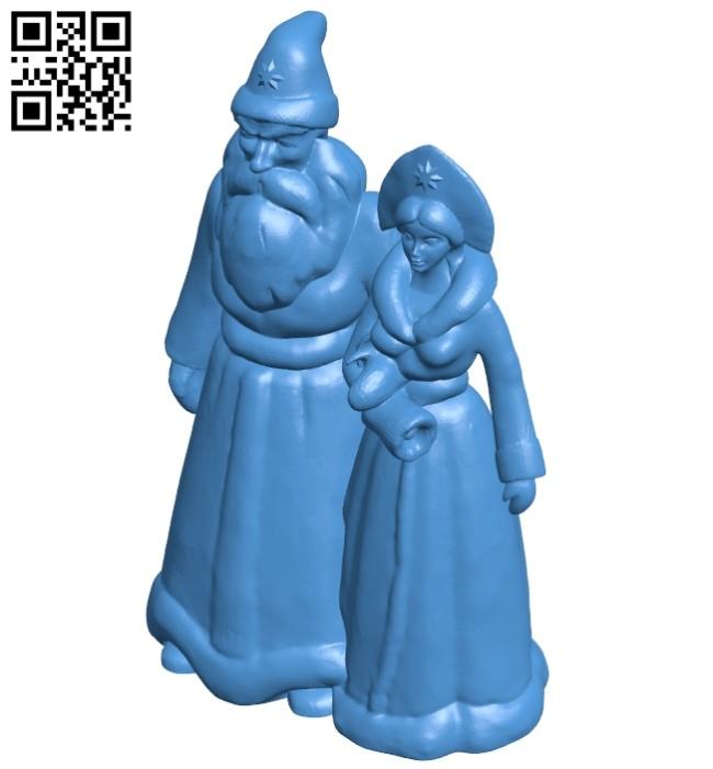 Santa claus and snow girl B008014 file stl free download 3D Model for CNC and 3d printer