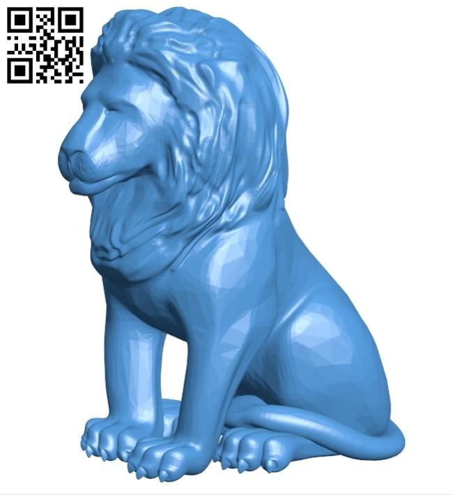 Sitting lion B007891 file stl free download 3D Model for CNC and 3d printer
