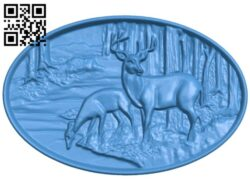 Two deer by the stream A005058 download free stl files 3d model for CNC wood carving