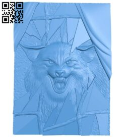 Wolf painting and glass door A005056 download free stl files 3d model for CNC wood carving